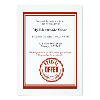 Ouverture officielle d'offre spéciale carton d'invitation  12,7 cm x 17,78 cm