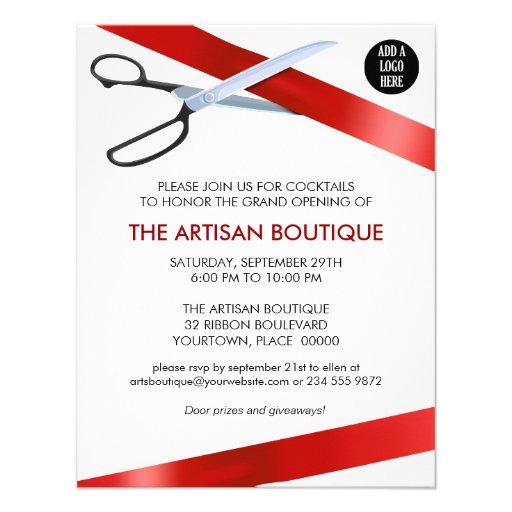 Ouverture officielle rouge de coupe de ruban cartons d'invitation