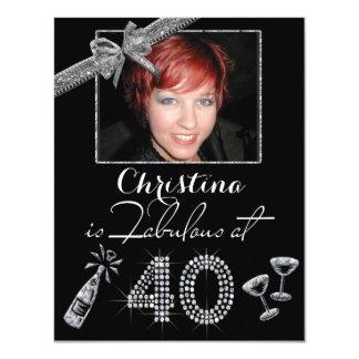Ouvrier à 40 Champagne et diamants ajoutez Carton D'invitation 10,79 Cm X 13,97 Cm