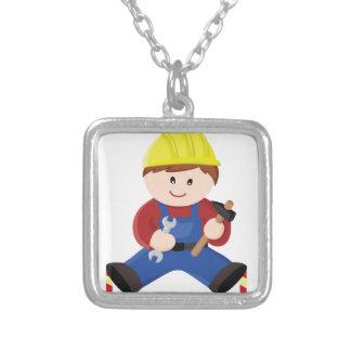 Ouvrier pour des enfants pendentif carré