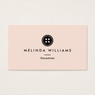 Ouvrière couturière moderne de logo de bouton, cartes de visite