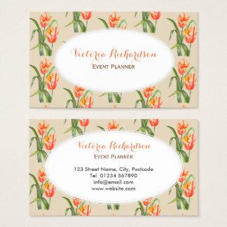 Ovale blanc de perroquet d'art floral jaune fait cartes de visite