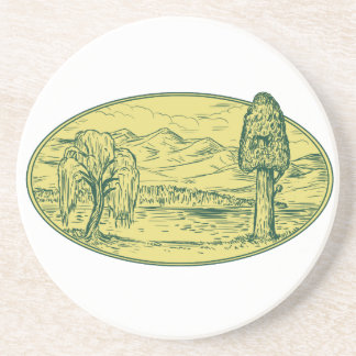Ovale Drawin de montagnes de lac tree de saule et Dessous De Verre