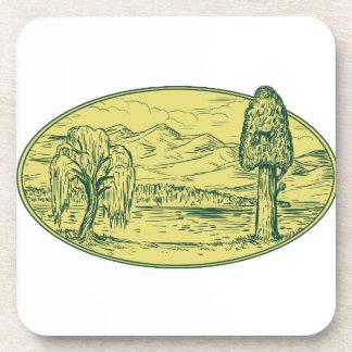 Ovale Drawin de montagnes de lac tree de saule et Sous-bock