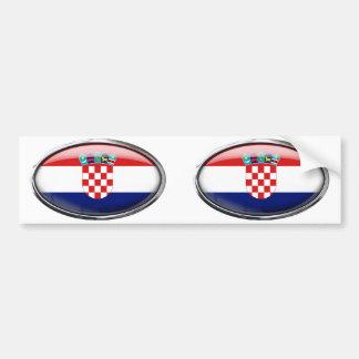 Ovale en verre de drapeau de la Croatie Autocollant De Voiture