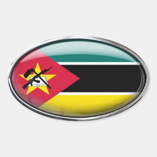 Ovale en verre de drapeau de la Mozambique Sticker Ovale