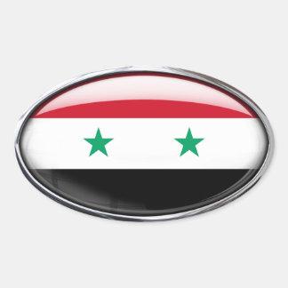 Ovale en verre de drapeau de la Syrie Adhésifs