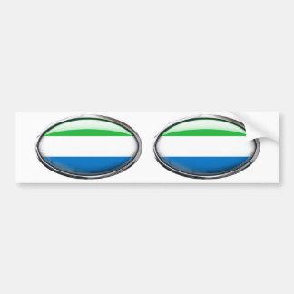 Ovale en verre de drapeau de Sierra Leone Autocollant Pour Voiture