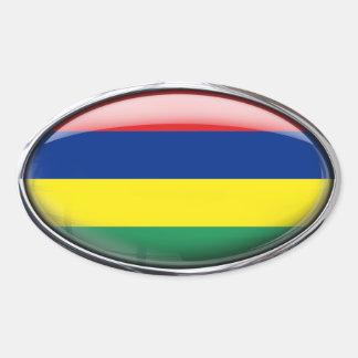 Ovale en verre de drapeau des Îles Maurice Autocollant Ovale