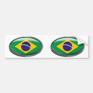 Ovale en verre de drapeau du Brésil Autocollant De Voiture
