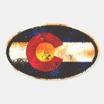 Ovale grunge du Colorado Autocollant