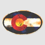 Ovale grunge du Colorado Autocollants Ovales