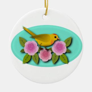 Ovale jaune de pivoines et d'Aqua de rose d'oiseau Ornement Rond En Céramique