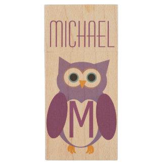 Owly pourpre personnalisé clé USB 2.0 en bois