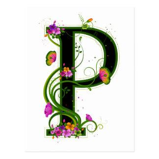 P floral carte postale