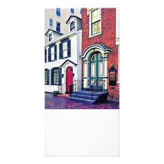 PA d'Harrisburg - Rue avec le drapeau américain Photocartes