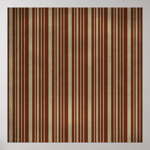 PA TEXTURISÉE de RAYURES de stripes52 BROWN TAN Posters