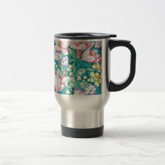 padrão floral mug de voyage en acier inoxydable