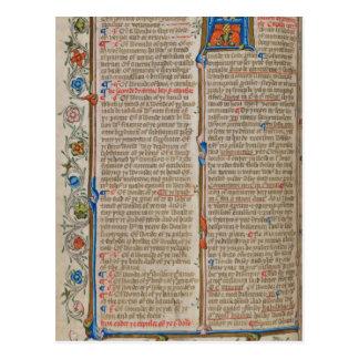 Page de manuscrit lumineux carte postale