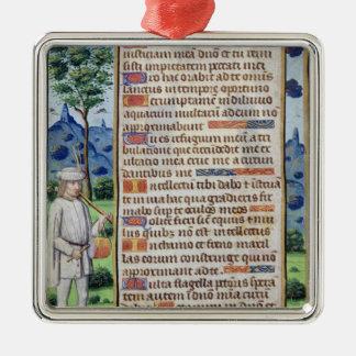Page de texte avec un détail de frontière d'a ornement carré argenté