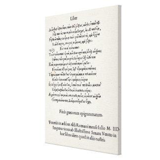 Page des épigrammes grecs par Angelo Poliziano, Toiles