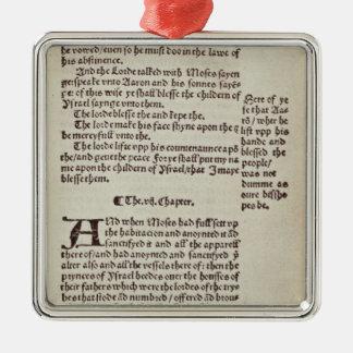 Page des textes de vieux testament ornement carré argenté