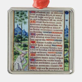Page du texte latin avec la frontière ornement carré argenté
