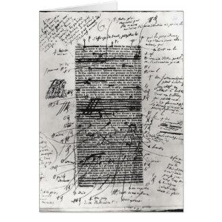 Page d'un des travaux du Balzac Carte De Vœux