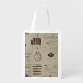 Pages antiques de catalogue sacs d'épicerie réutilisables