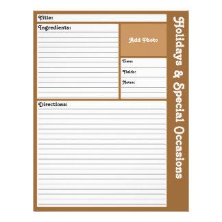 Pages rayées de recette (Brown) Prospectus 21,6 Cm X 24,94 Cm