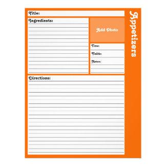 Pages rayées de recette (oranges) prospectus 21,6 cm x 24,94 cm