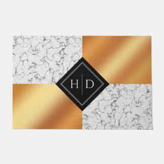 Paillasson Aluminium élégant de marbre et d'en cuivre