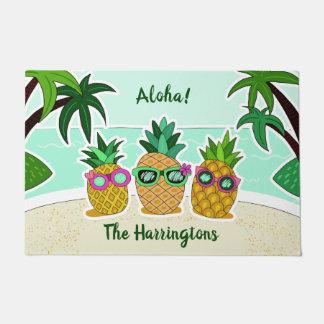 Paillasson Ananas natte faite sur commande de nom de plage et