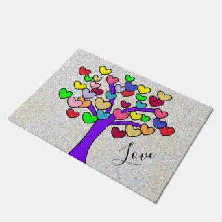 Paillasson Arbre d'amour pourpre de coeurs colorés mignons