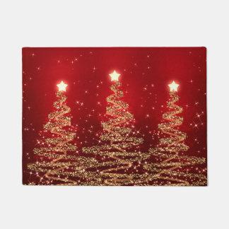 Paillasson Arbres de scintillement de Noël élégant rouges