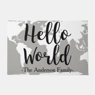 Paillasson Bonjour nom de famille marqué avec des lettres par