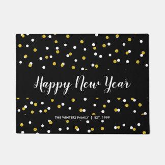 Paillasson Bonne année + nom de famille, confettis noirs d'or
