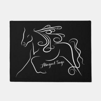 Paillasson Cheval noir et blanc personnalisé de silhouette