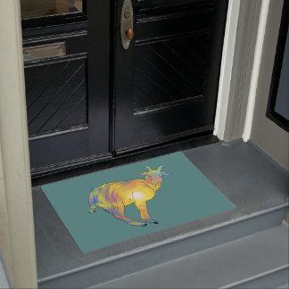 Paillasson Conception animale drôle de chèvre colorée jaune
