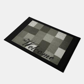 Paillasson conception knittted noire et blanche vintage de