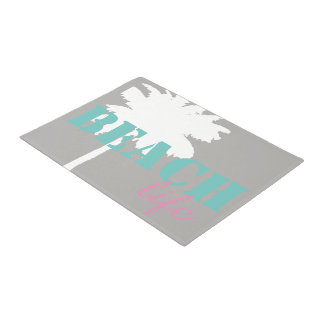 Paillasson de la vie de plage de palmier