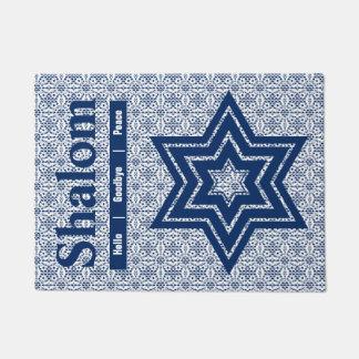 Paillasson Étoile de David de dentelle avec le texte de