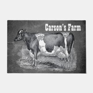 Paillasson Gravure à l'eau-forte vintage, vache noire et