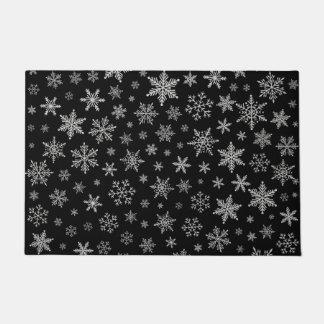 Paillasson Gris noir et argenté du flocon de neige moderne 2