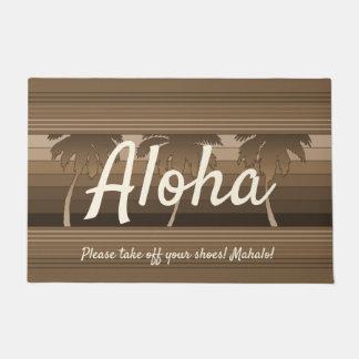 Paillasson Hilo Aloha Brown barré par paumes hawaïennes