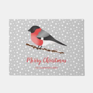 Paillasson Joyeux Noël et nom de famille de bouvreuil