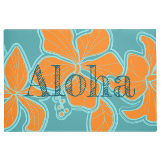 Paillasson Ketmie Aloha Teal floral hawaïen de Kailua