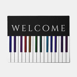 Paillasson Le piano coloré de musique verrouille l'accueil de