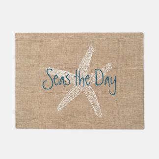 Paillasson Mers les étoiles de mer vintages de jour sur le