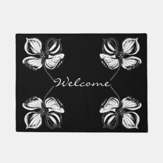 Paillasson Motif de fleur élégant noir et blanc